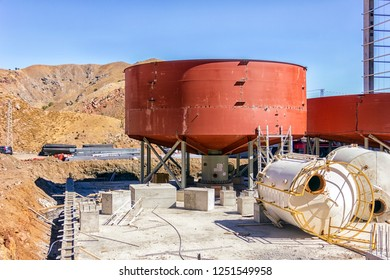 Thickener tank of the industrial flotation plant for copper mine.