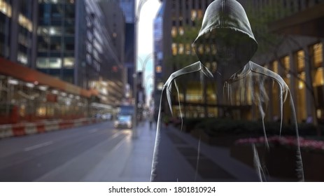 Thief in black clothes on city background