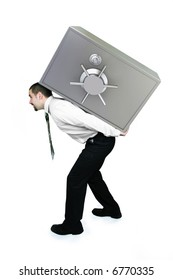 Thief Businessman lifting heavy safe with money on his back