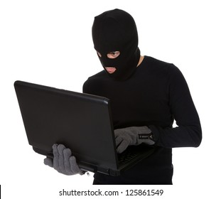 Thief in disguise stealing data from computer