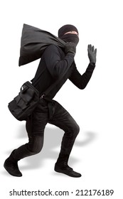 thief dressed in black and wearing a balaclava stealing valuables by bag in concept  criminal committing isolated on white background with clipping path