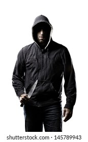 Thief in the hood on a white background.