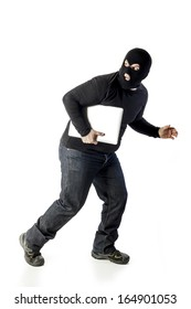 thief with laptop on white background