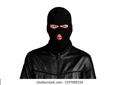 Thief in a mask, isolated on a white background