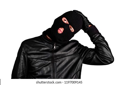 Thief in a mask thinks, isolated on a white background