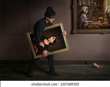 Thief in museum. Surrealistic image with painting comes to be alive.