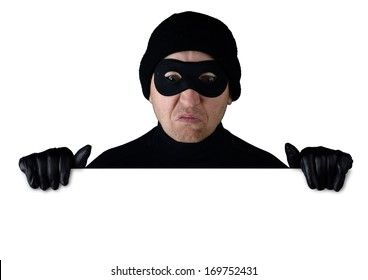 Thief peering over the top of isolated white copy space