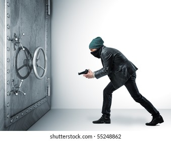 thief with pistol and 3d safe box