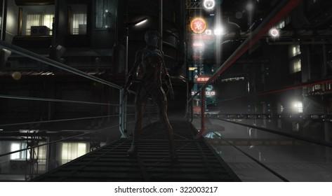 Thief rogue at night in urban future