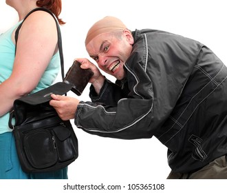 Thief stealing from handbag of a woman. Insurance concept.