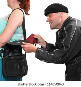 Thief stealing from handbag of a woman. Shopping theme. Insurance concept.