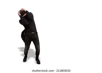 thief surrendered criminal black and wearing a balaclava isolated on white background with clipping path