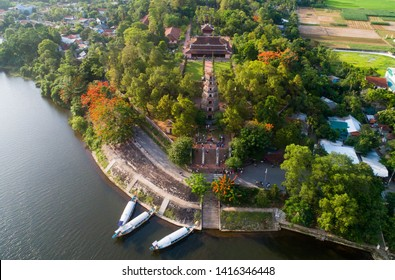 Thien Mu pagoda from above in Hue, Vietnam. Beautiful place and attract many tourists.