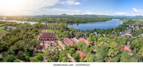 Thien Mu Pagoda, Hue, Vietnam from sky.  Pagoda of the Celestial Lady  is a historic temple in the city of Huế in Vietnam.