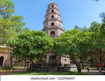 Thien Mu Pagoda, Hue, Vietnam. The pagoda sits on the Hà Khê hill, in the ward of Hương Long in Huế. It is around 3 kilometres (1.9 mi) from the Citadel of Huế