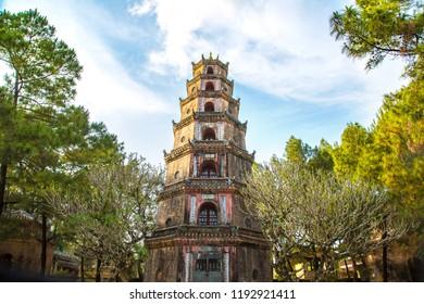 Thien Mu Pagoda in Hue, Vietnam in a summer day