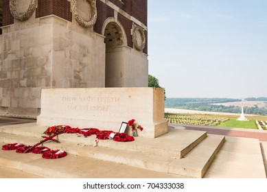 THIEPVAL, FRANCE - August 26, 2017: The Thiepval Memorial to the Missing of the Somme is a war memorial to missing British and South African who died in the First World War and a French cemetery.