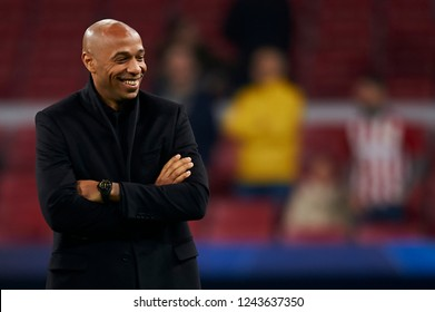Thierry Henry of Monaco during the UEFA Champions League match between Atletico Madrid and AS Monaco at Wanda Metropolitano Stadium in Madrid, Spain on November 28, 2018