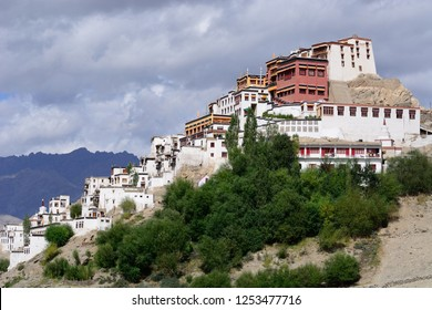 Thiksey, Leh, Jammu and Kashmir-Aug 16 2014: The side view of Thikse Monastry in Thiksey resembles Patola palace of Lhasa.