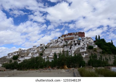 Thiksey, Leh, Jammu and Kashmir-Aug 16 2014: Thikse Monastry is a gompa affiliated with the gelug sect of tibetan buddhism located on top of a hill in Thiksey approximately 19 km east of Leh, India.
