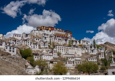 Thiksey monastery against beautiful cloudy background, in Leh, ladakh, India