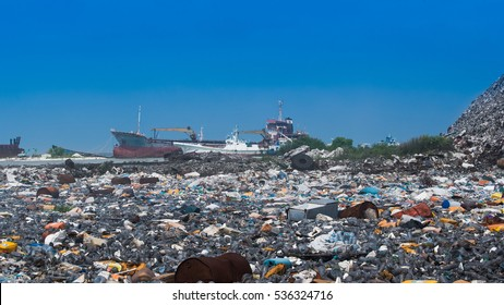 THILAFUSHI, MALDIVES - 30 11, 2016: Open dump site in a lagoon area of Thilafushi, where large amount of unsegregated waste being dumped every day