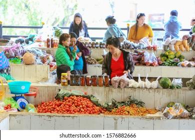 Thimphu, Bhutan - April 14, 2017: The Centenary Farmers vegetable market in downtown Thimphu, Bhutan. The Kingdom of Bhutan is landlocked in the Eastern Himalayas, Thimphu is its capital.