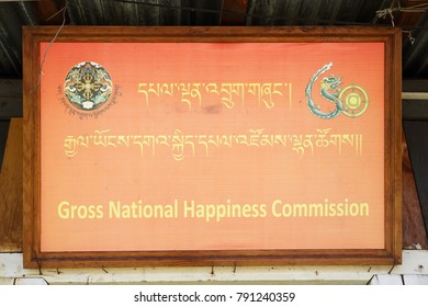 THIMPHU, BHUTAN - DEC 3, 2017: Gross National Happiness Commission. Created is to value collective happiness as the goal of governance, and by emphasizing harmony with nature and traditional values.