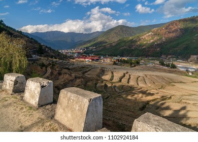 Thimphu, Bhutan - March 30, 2018 : View into the valley of Thimphu from the road above