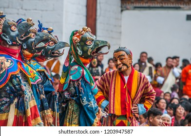 Thimphu/Bhutan - October 12, 2016: Bhutanese people and monks in traditional custom at the Thimphu festival.