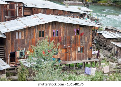 THIMPHU,BHUTAN - SEPTEMBER 23:Traditional wooden house at border of Wang Cchu river on September 23,2012 in Thimphu,Bhutan.