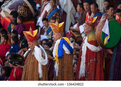 THIMPHU,BHUTAN -SEPTEMBER 27:Traditional entrance of monks during festival in Thimphu Dzong on September 27,2012 in Thimphu,Bhutan.Each year this major buddhist festival is held in the Thimphu Dzong.
