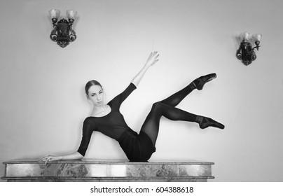 thin ballerina with long legs