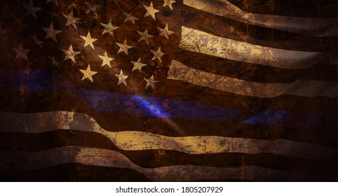 Thin Blue Line Wavy American Flag in Support of Police and Law Enforcement with grunged texture