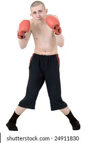 The thin boxer in gloves on a white background