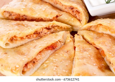 thin cake with meat filling
