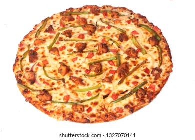 Thin Crust Pizza with spicy chicken Tomatoes green capsicum Onions and lots of cheese
