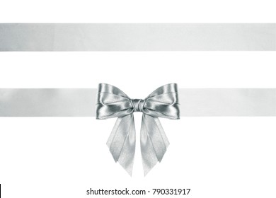 thin decorative silver bow with horizontal ribbons with horizontal ribbon, isolated on white