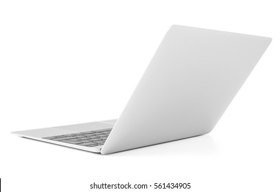 Thin laptop with lid open, back view