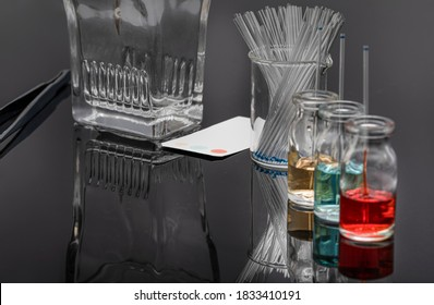 Thin layer chromatography equipments include jar, silica gel, capillary and compounds. TLC method used in purity analysis of compounds in chemistry laboratory.
