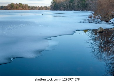 Thin layer of ice on leach pond at Borderland State Park