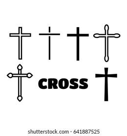 Thin line icons set of crosses. Illustration of crosses