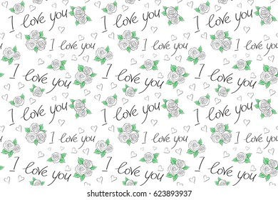 Thin Line Valentine Day seamless pattern in black and white Colors. Raster Website Design and seamless pattern on White Background in Trendy Modern Line Style. Love Wedding, Love Text, Hearts.
