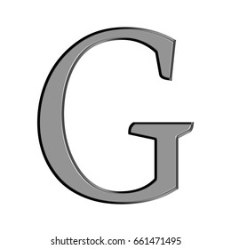 Thin metal panel alphabet style uppercase or capital letter G in a 3D illustration with a flat metallic silver chrome semi shiny surface isolated on a white background
