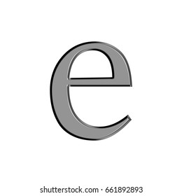 Thin metal panel alphabet style lowercase or small letter E in a 3D illustration with a flat metallic silver chrome semi shiny surface isolated on a white background with clipping path.