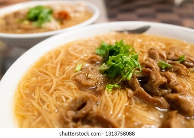 thin noodles with pork intestine, famous and traditional Taiwan snacks