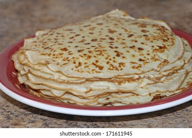 Thin pancakes on a plate