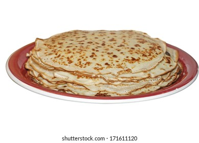 Thin pancakes on a plate isolated