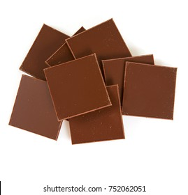 thin pieces of chocolate isolated on white