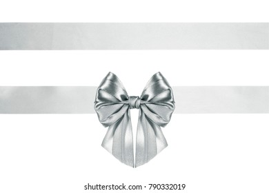 thin silver bow with horizontal ribbons with horizontal ribbon, isolated on white background